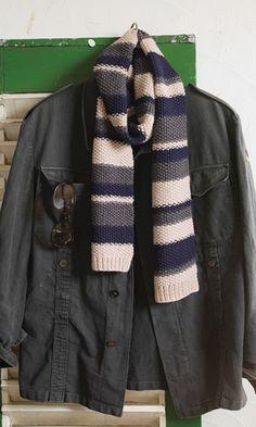かぎ針編みマフラーの編み図 参考用☆鹿の子編みのボーダーマフラー