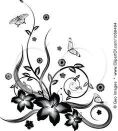 line art floral - Google Search
