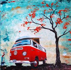 Nice Volkswagen 2017: 1970 Red Volkswagen Camper Bus by Sheri Wiseman  Painting Check more at http://carsboard.pro/2017/2017/02/01/volkswagen-2017-1970-red-volkswagen-camper-bus-by-sheri-wiseman-painting/