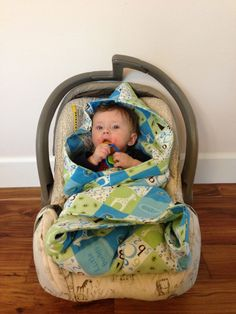 Carseat blanket with hood by MamaBeesSewShop on Etsy, $19.99