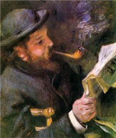 Claude Monet Reading - Pierre-Auguste Renoir.