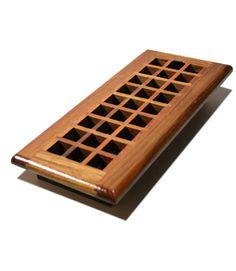"Lattice Design: 4X10"" Solid Oak Wood Floor Register - Natural"