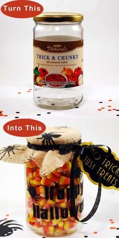 Recycle old jars into cute Halloween candy jars. Free clipart download suitable for most die cut machines.