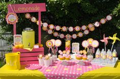 Lemonade and Sunshine Birthday Cupcake Toppers by sosweetpartyshop