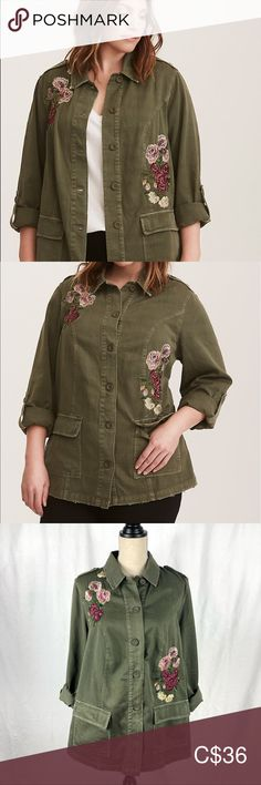 """Torrid Floral Embroidered Twill Shirt Jacket Gorgeous shirt-jacket in olive green with floral embroidery. Has a distressed look, and is in excellent condition.  From the website: A military-inspired shirt jacket features floral embroidery that sweetens the sturdy twill style while patch pockets and tab sleeves lend functionality. Twill fabric Spread collar Long tab sleeves Front button closure Fitted CONTENT + CARE Cotton Wash cold, dry low Size 1 measures 30"""" from shoulder to hem torrid… Twill Shirt, Plus Fashion, Fashion Tips, Fashion Trends, Shirt Jacket, Floral Embroidery, Front Button, Torrid, Olive Green"""