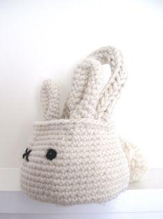bunny basket bag crochet pattern PDF by cherylcambras on Etsy
