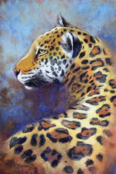Golden Boy - pastel jaguar painting - click to see larger image