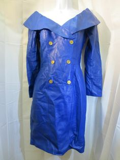 Michael Hoban North Beach Leather Blue Dress Faux Double Breasted Size XS EUC