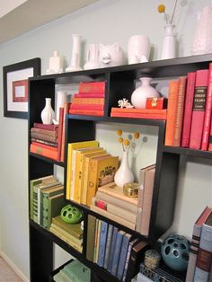 Libby's awesome color-coordinated shelves!