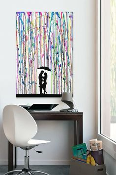 Love this crayon art piece! Not too difficult either. Just put some painters tape where you want the couple to be while you're melting the crayons, and then draw or stencil them on afterwards. Could also get a similar effect by dripping paint instead.