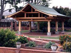 japanese timber frame plans | Asian timber frame koi pond cover