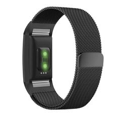 Fitbit Charge 2 Band, UMTELE Milanese Loop Stainless Steel Metal Bracelet Strap with Unique Magnet Lock, No Buckle Needed for HR Fitness Tracker Black
