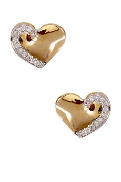14K Yellow Gold Diamond Accent Heart Stud Earrings