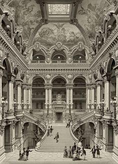 """archimaps: """"The grand staircase inside Garnier's Opera, Paris """" Architecture Baroque, Architecture Classique, Classic Architecture, Architecture Drawings, Facade Architecture, Historical Architecture, Ancient Architecture, Landscape Architecture, Sustainable Architecture"""
