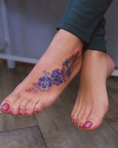 40 Stunning Foot Tattoo Designs To Conquer Your Heart – Page 12 of 40 – Stunnin… – foot tattoos for women flowers Violet Flower Tattoos, Violet Tattoo, Tattoos For Women Flowers, Foot Tattoos For Women, Small Tattoos, Blue Orchid Tattoo, Beautiful Tattoos For Women, Pansy Tattoo, Flower Tattoo Foot