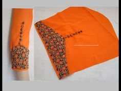 Amazing Designer Sleeves for Churidar / Kurti Cutting & Stitching - Very. Chudidhar Neck Designs, Salwar Neck Designs, Churidar Designs, Kurta Neck Design, Neck Designs For Suits, Sleeves Designs For Dresses, Neckline Designs, Kurta Designs Women, Blouse Neck Designs