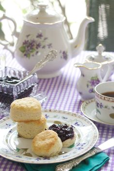 Blueberry jam & biscuits, perfect for a tea party!