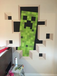 Minecraft, Creeper Bedroom!! Minecraft Room, Minecraft Party, Attic Bedroom Small, Shed Homes, House Renovations, Creepers, Preston, Hunters, Kids Rooms