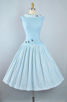 1950s DUCK Beaded Novelty Applique Garden Picnic Dress Set