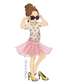 Children's Fashion Illustration Print with a little girl playing dress up in her mom's glittery shoes and sunglasses