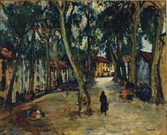 Arbit Blatas (Lithuania 1908-1999) La Place à Ceret oil on paper laid down on canvas 81.3 x 100.3cm