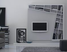 architectural modern bookshelves - Create more space by moving things up and off
