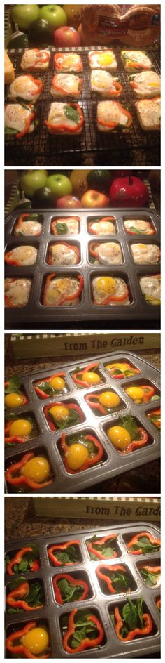 Yummy! Created this for a healthy, quick breakfast option. Organic baby spinach, organic eggs and red bell pepper. Bake at 350 for 15 min. Pampered Chef brownie pan. I took to work and added some Colby jack, sliced avocado and popped them in the toaster oven on an ole wrap. Soooo good!