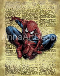 Spider Man Print/Spider Man Vintage/Marvel Comics/The Avengers Vintage Wall Art/Retro Poster/Book Page/Dictionary Page Print/Quote Poster Quote Posters, Quote Prints, Wall Prints, Book Page Art, Book Pages, Frame Download, Vintage Wall Art, International Paper Sizes, Character Portraits