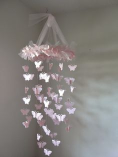 Pink Chandelier Butterfly Mobile. $45.00, via Etsy.