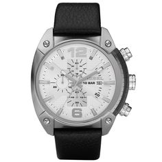 Diesel Mens Fashion Chronograph Black Leather Strap Watch DZ4214.   Nothing is black and white with this precise timepiece by Diesel. Crafted of black leather strap and round stainless steel and crystal-electroplated case. White textured chronograph dial features silver tone numerals at six and twelve oclock, applied stick indices, three subdials with black printing, date window at three oclock, luminous hands and logo.