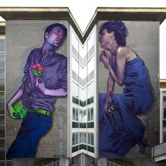 Romeo and Juliet Natalia Rak (left) Bezt(right) Caseta,Italy 2015 The Incredible Building Sized Murals of the ETAM Cru