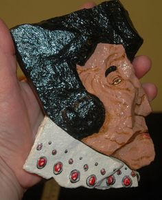 art, painted rock Elvis