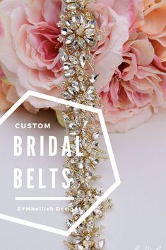 Custom Bridal Belts | Etsy Wedding Shops | EYMbellish Designs | Rose gold bridal belts | Gold Bridal Belts | Silver Bridal Belt | Thin wedding belt | Favorite wedding dresses | wedding dresses with rhinestone sash