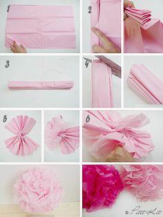 Paso a paso pompones papel de seda