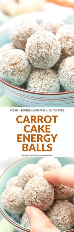 Raw no-bake Carrot Cake Energy Balls made with all HEALTHY ingredients. These yummy bites are refined sugar-free, gluten-free and vegan. Perfect snack, a post-workout snack or simple dessert.   http://natalieshealth.com   #vegan #glutenfree #sugarfree #Easter #h
