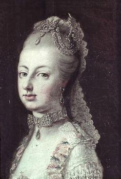 Detail of a portrait of Marie Antoinette by Martin van Meytens.