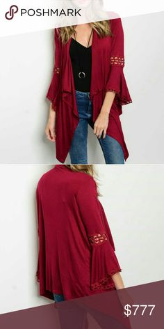"""Beautiful Burgundy open front duster Brand new without tags. Boutique item. Price is firm.  Beautiful waterfall front burgundy short duster featuring fabulous 3/4 length flared bell sleeves with crochet details! Pair with you favorite jeans and top!    Small front length 31"""" to points/ back length 25"""" Medium front length 32"""" to point/ back length 26"""" Large front length 32"""" to points/back length 26"""" Material 97%rayon/3%spandex    Tops"""