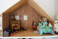 American Girl Dollhouse - Kit's attic room. I would also make room for her trunk.