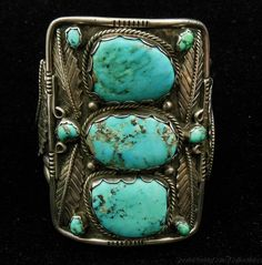 Vintage Navajo Large Sterling Silver and Turquoise Cuff Style Bracelet