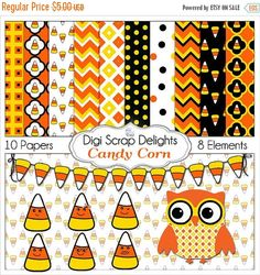 50% OFF TODAY Candy Corn Clip Art, Owl,  Digital Papers Black Orange Yellow Fall / Autumn Teacher, Card Making, Crafts, Instant Download  #fall #autumn #scrapbooking #trickortreat #halloween  #digiscrapdelights