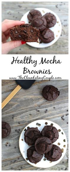Healthy Mocha Brownies that have a secret ingredient. These brownies are moist, chewy, and loaded with mini chocolate chips!