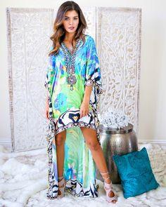 adfdd5cc795 Mystics Dress Hi-low dress in bright blue and green print. Jamie Evans ·  Summer Clothes   Swimwear