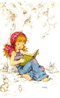 Vintage Sarah Kay illustration Reading under a tree.