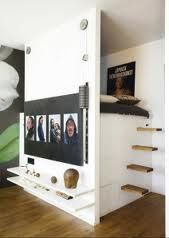 60 Minimalist Loft Stairs for Tiny House Decor Ideas - wholiving Tiny Spaces, Small Rooms, Small Apartments, Studio Apartments, Elevated Bed, Loft Stairs, Bed Stairs, Compact Living, Small Space Living
