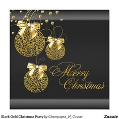 Black Gold Christmas Party 5.25x5.25 Square Paper Invitation Card