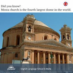 Did you know ? Mosta church is the fourth largest dome in the world.  www.elanguest.com  #learnenglish #elanguest #englishschool #malta #mosta
