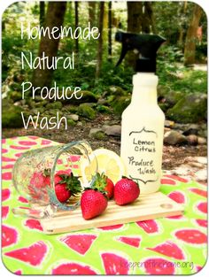 Homemade Lemon Citrus Produce Wash {Natural, Fast, & Easy} - 8-10 ounces purified water  1 cup vinegar  juice from 1 lemon  1-2 Tbsp baking soda  grapefruit seed extract  lemon & orange essential oils  bowl & fork  recycled spray bottle