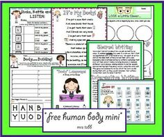 Free Human Body Unit from Just Another Day in. First Grade. 3 free fabulous mulit-page literacy/science units - love these! 1st Grade Science, Elementary Science, Science Classroom, Teaching Science, Science Education, Science Activities, Physical Education, Science Projects, Science Worksheets