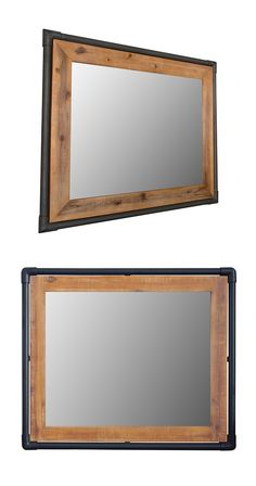 You're bound to like what you see in this handsome wall mirror. Framed with a warmly hued acacia wood border and lined with black-finished metal piping, this Mission Wall Mirror will make your daily re...  Find the Mission Wall Mirror, as seen in the Fresh Industrial Style Collection at http://dotandbo.com/collections/fresh-industrial-style?utm_source=pinterest&utm_medium=organic&db_sku=117060