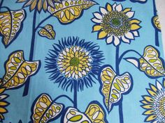 Fabric Sample Bold Blue and Yellow Sunflower Fabric by TextilesandThings, $14.00